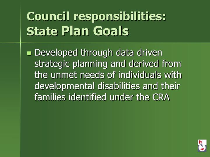 Council responsibilities: State