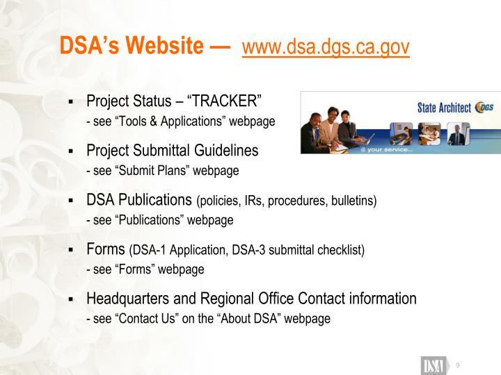 DSA's Website —