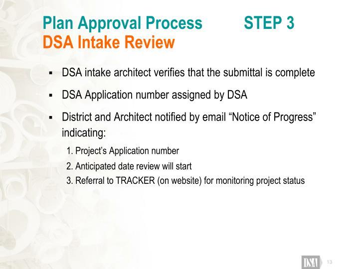 Plan Approval Process          STEP 3