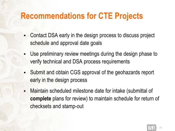 Recommendations for CTE Projects