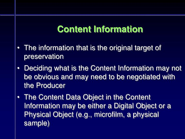 Content Information