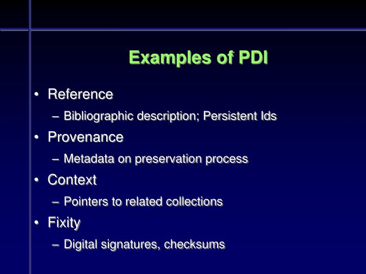 Examples of PDI