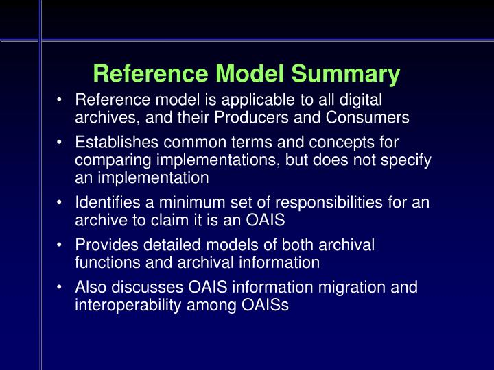 Reference Model Summary
