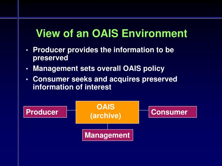 View of an OAIS Environment
