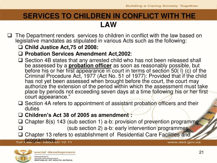 SERVICES TO CHILDREN IN CONFLICT WITH THE LAW