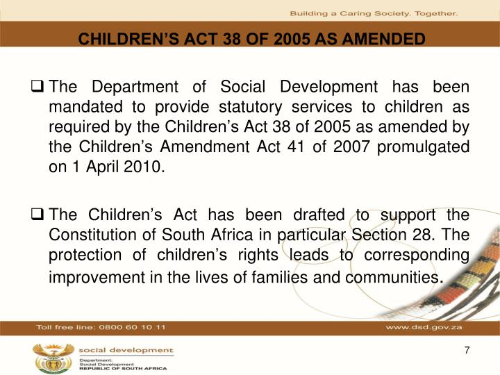 CHILDREN'S ACT 38 OF 2005 AS AMENDED