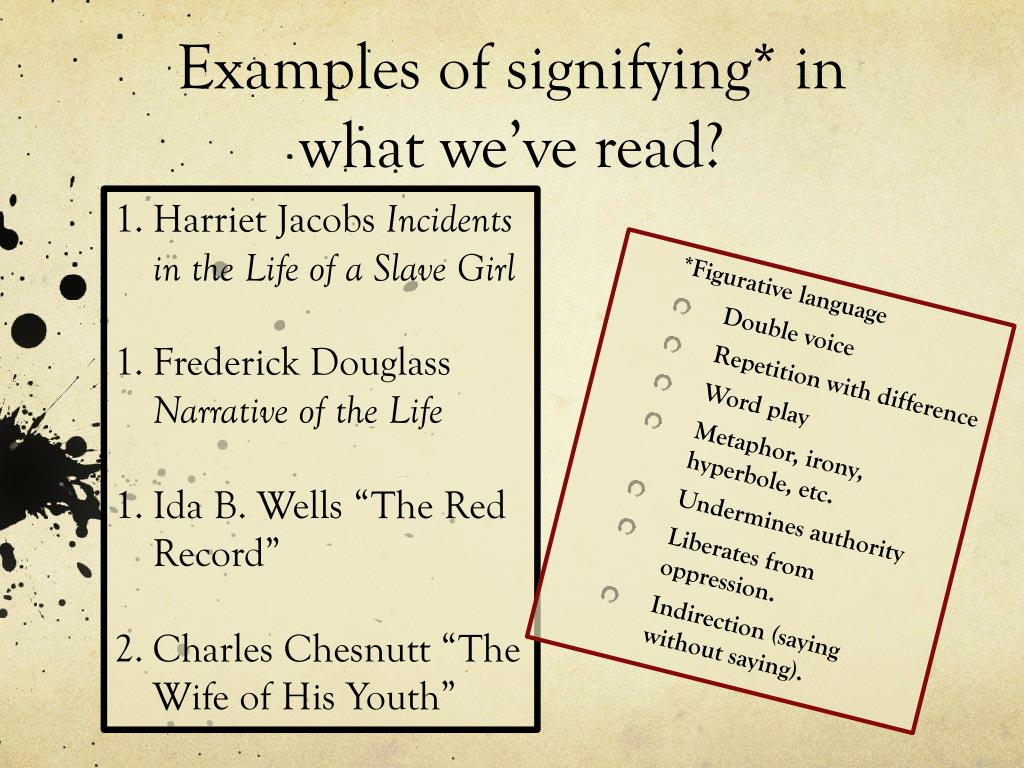 Examples of signifying* in what we've read?