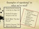 examples of signifying in what we ve read