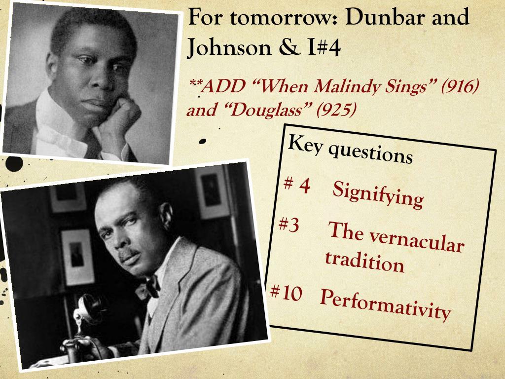 For tomorrow: Dunbar and Johnson & I#4