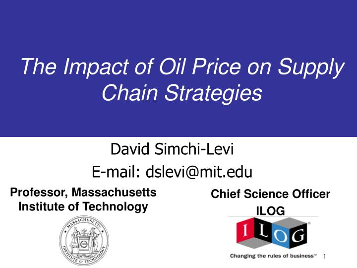 the impact of oil price on supply chain strategies n.