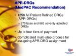 apr drgs medpac recommendation