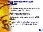 hospital specific impact analysis