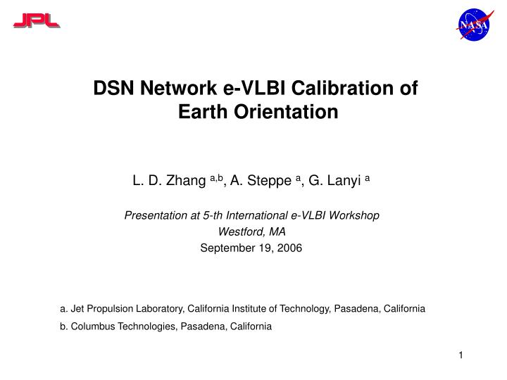 dsn network e vlbi calibration of earth orientation n.