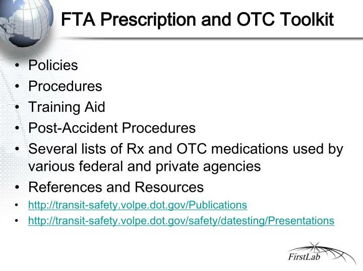 FTA Prescription and OTC Toolkit