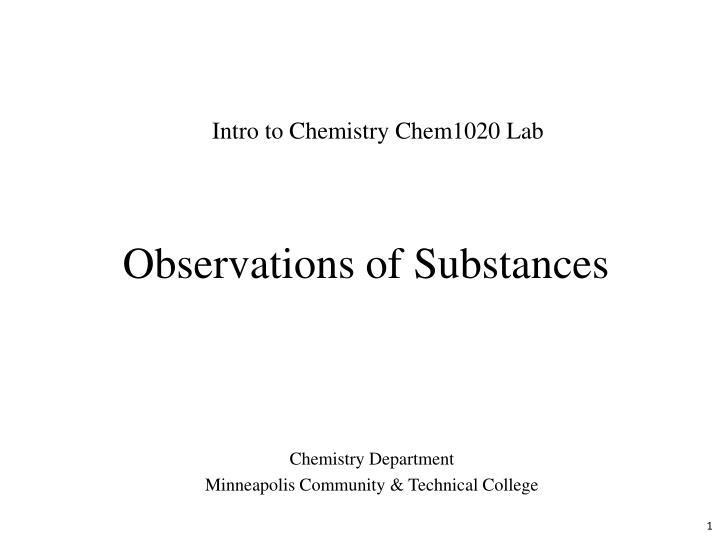 observations of substances n.