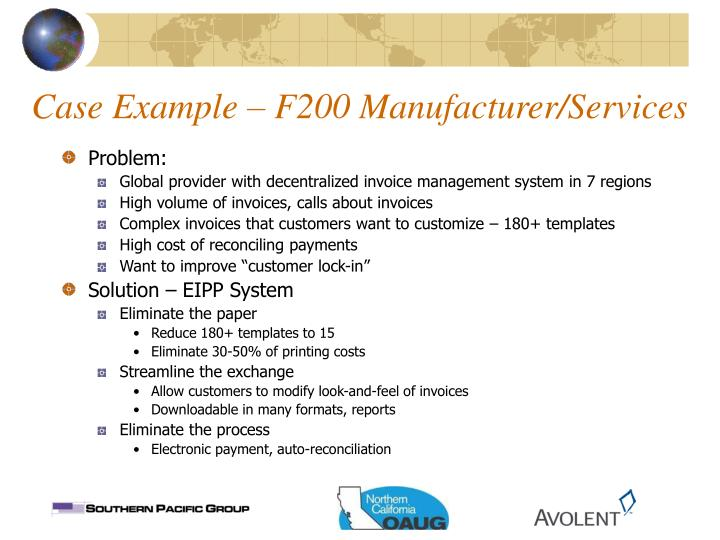 Case Example – F200 Manufacturer/Services