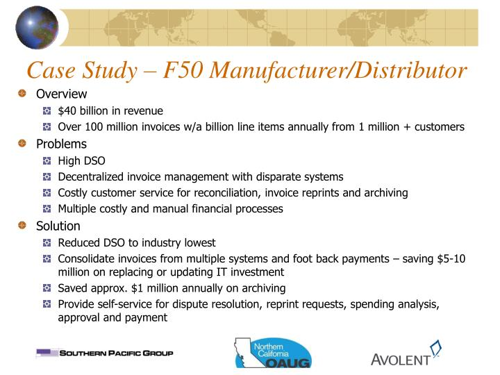 Case Study – F50 Manufacturer/Distributor
