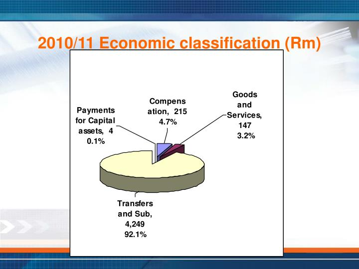 2010/11 Economic classification (Rm)