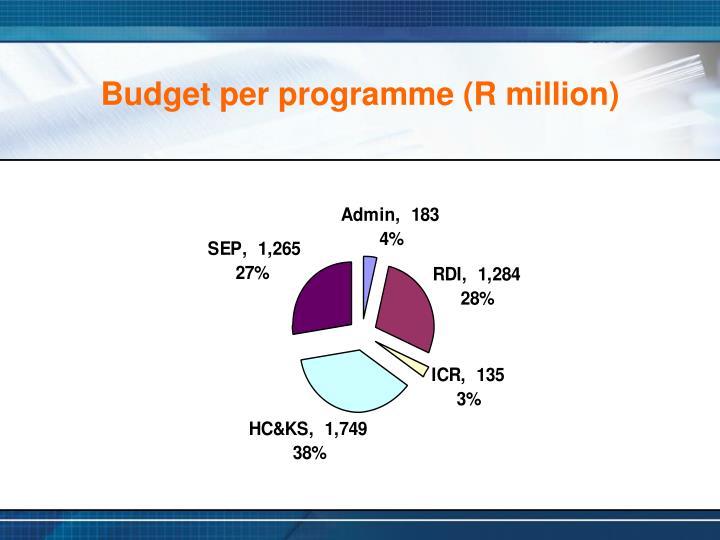Budget per programme (R million)