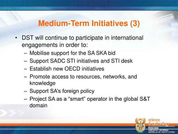 Medium-Term Initiatives (3)