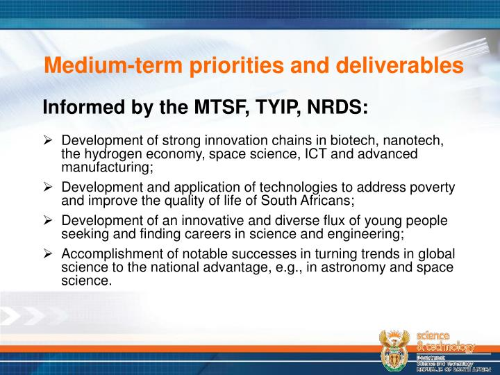 Medium-term priorities and deliverables