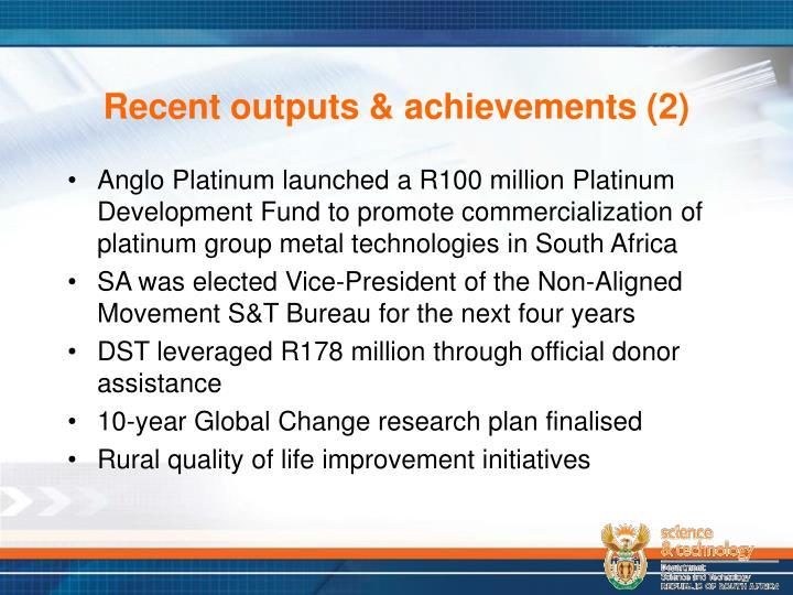 Recent outputs & achievements (2)