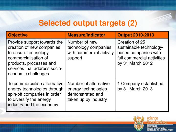 Selected output targets (2)