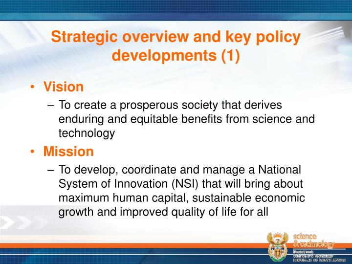 Strategic overview and key policy developments (1)