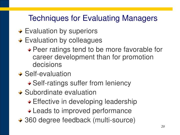 Techniques for Evaluating Managers