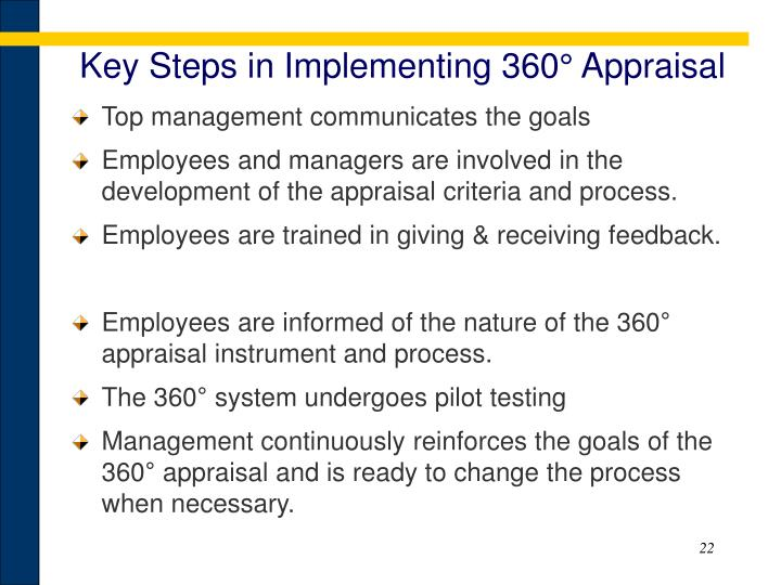 Key Steps in Implementing 360° Appraisal
