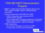 find bd mgit demonstration projects