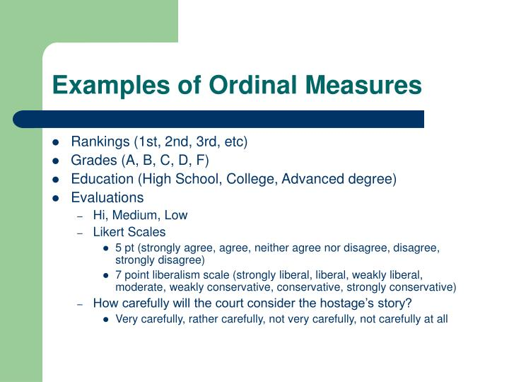 Examples of Ordinal Measures