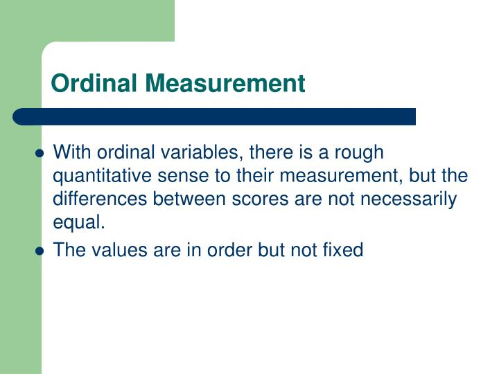 Ordinal Measurement