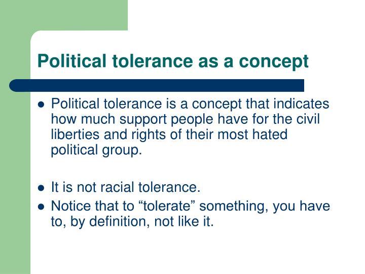 Political tolerance as a concept