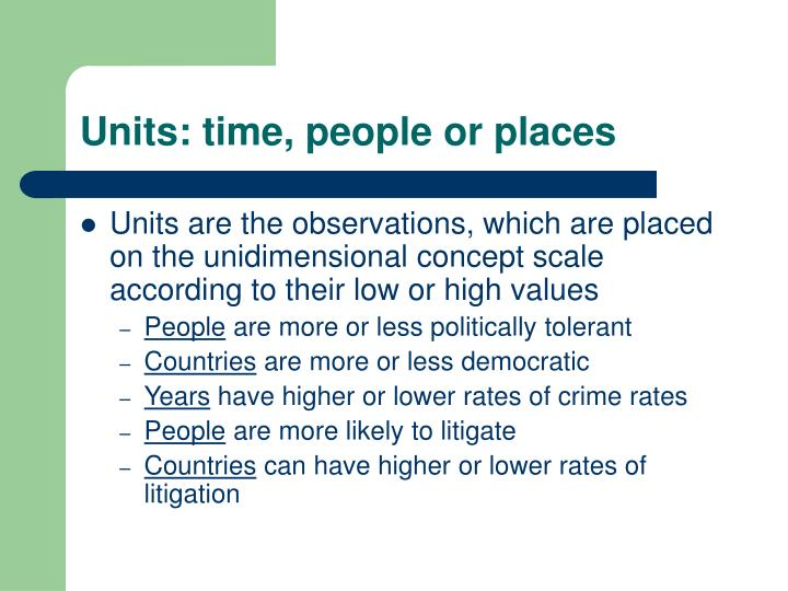 Units: time, people or places