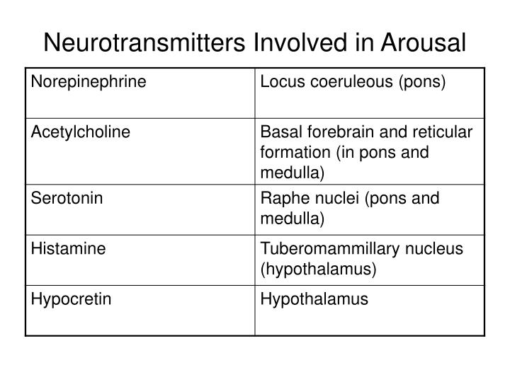 Neurotransmitters Involved in Arousal