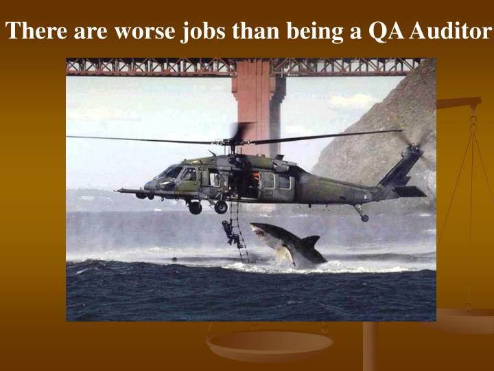 There are worse jobs than being a QA Auditor