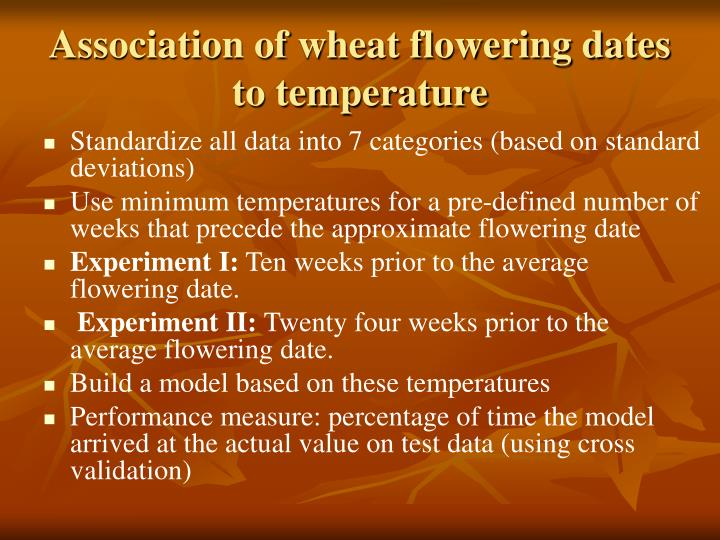 Association of wheat flowering dates to temperature