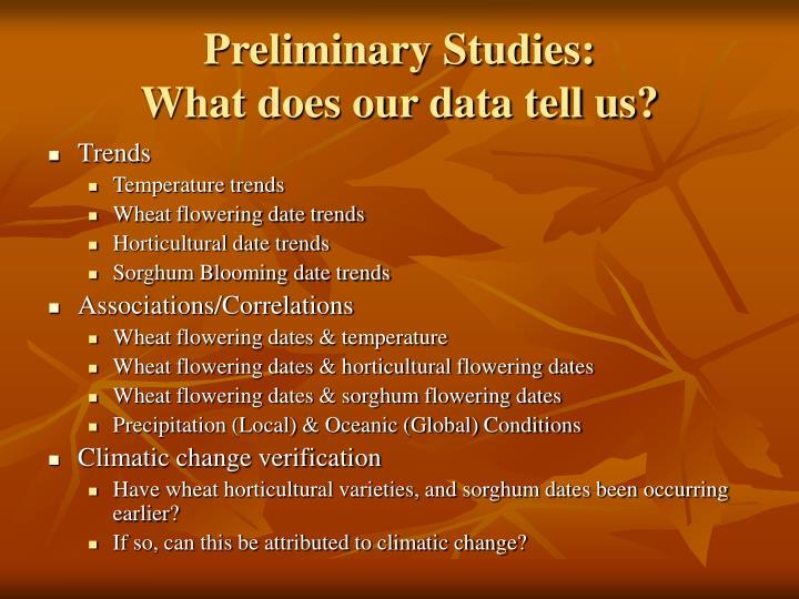 Preliminary Studies: