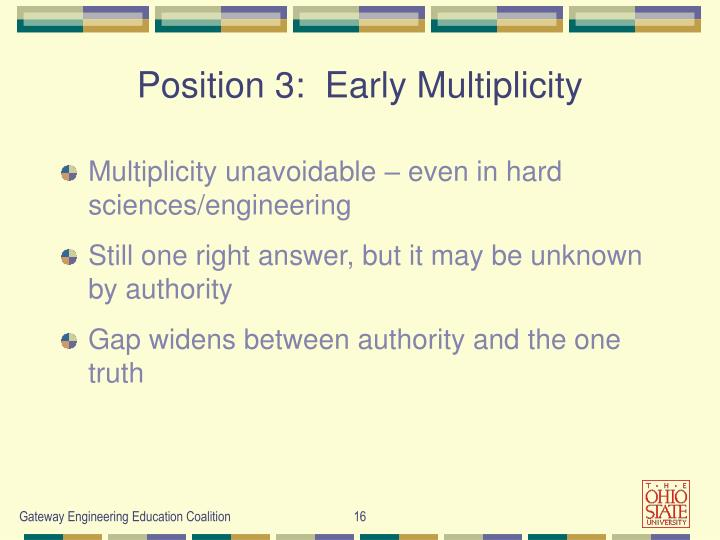 Position 3:  Early Multiplicity