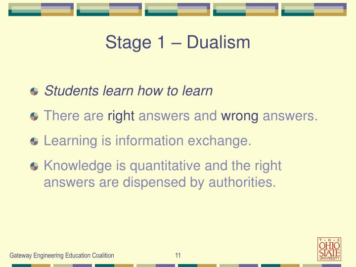 Stage 1 – Dualism