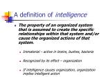 a definition of intelligence