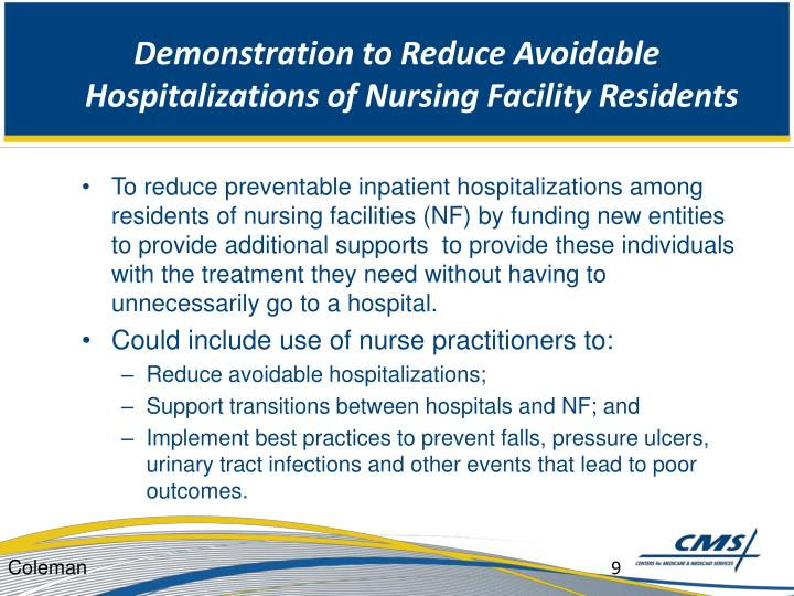 Demonstration to Reduce Avoidable Hospitalizations of Nursing Facility Residents