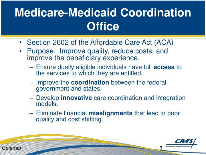 Medicare medicaid coordination office