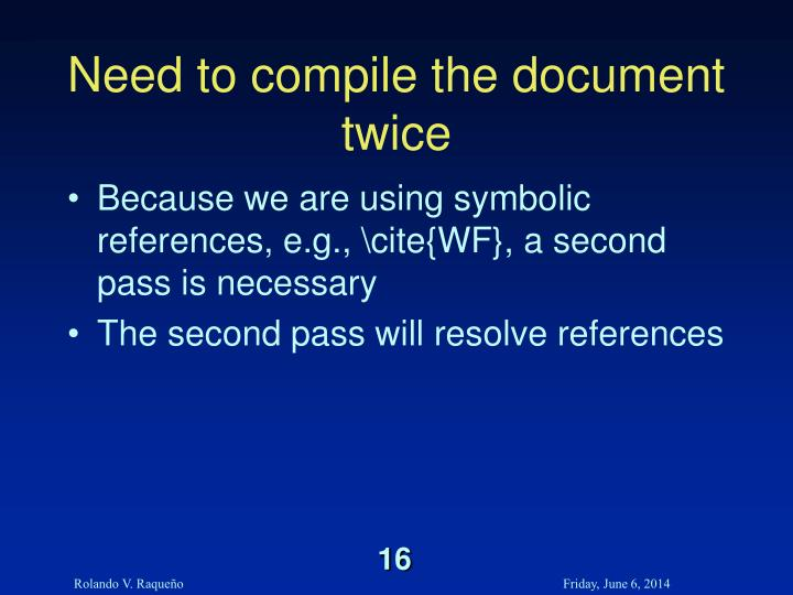Need to compile the document twice