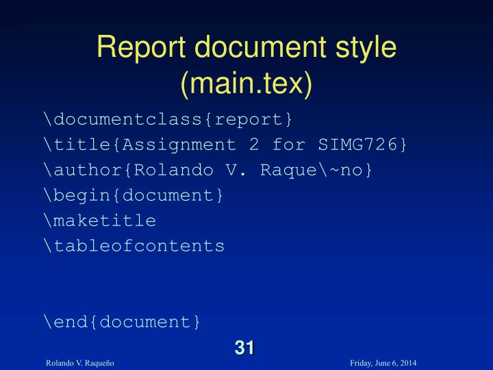 Report document style