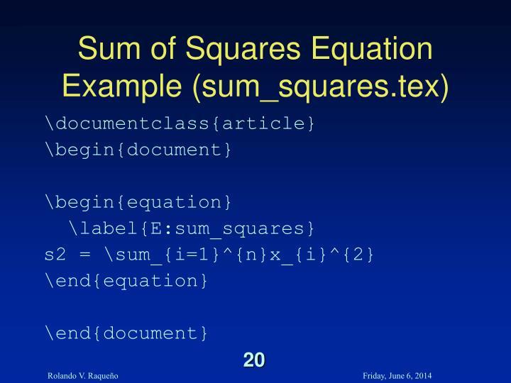 Sum of Squares Equation Example (sum_squares.tex)