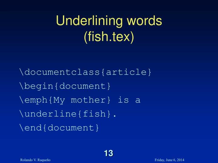 Underlining words