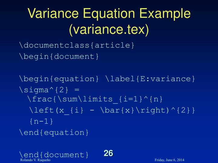 Variance Equation Example (variance.tex)