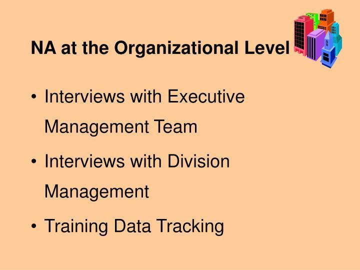 NA at the Organizational Level